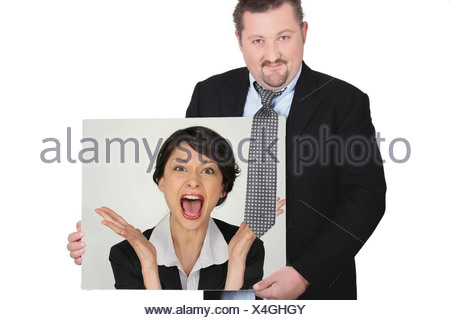 Businessman with a picture of a woman shouting - Stock Photo
