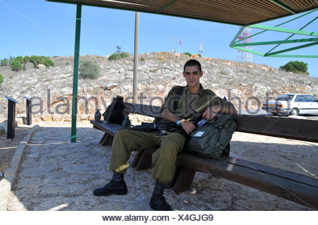 Israel, Upper Galilee, Metula, Israeli soldiers on tour at the Dado lookout on the Lebanese border - Stock Photo