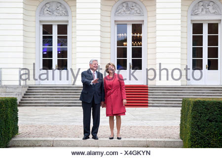 German president Joachim Gauck and his partner Daniela Schadt, in front of Bellevue Palace, Berlin, Germany - Stock Photo