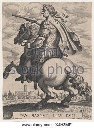 Plate 1: Emperor Julius Caesar on Horseback, from ´ The First Twelve Roman Caesars´, after Tempesta. Artist: Matthäus Merian the Elder (Swiss, Basel - Stock Photo