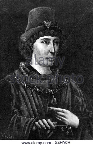 Philip III 'the Good', 31.7.1396 - 15.6.1467, Duke of Burgundy 10.9.1419 - 15.6.1467, half length, wood engraving, 19th century, , Additional-Rights-Clearances-NA - Stock Photo