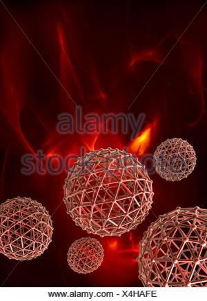 Spheres on red background, illustration - Stock Photo
