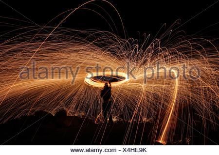 Long exposure of Steel wool at nigth - Stock Photo