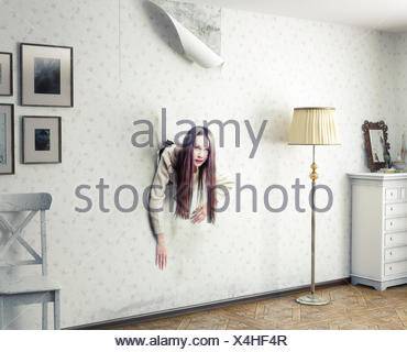 woman and the wall - Stock Photo