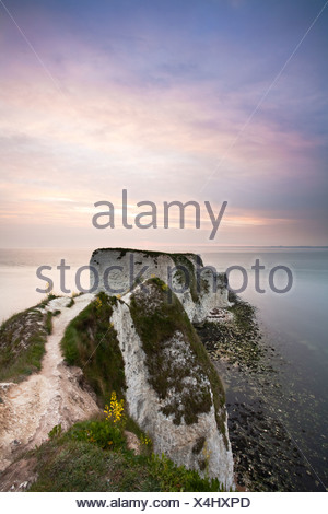 Old Harry Rocks at Dawn on Dorset's Jurassic Coast close to Poole, Uk - Stock Photo