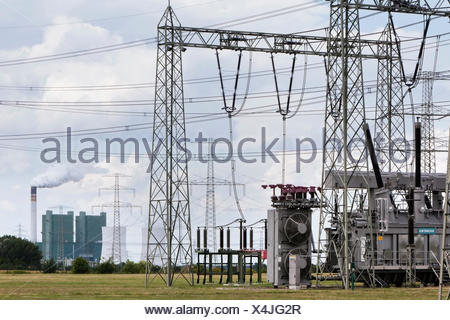Transformer in a substation, in front of Schkopau Power Station, Bad Lauchstädt, Saxony-Anhalt, Germany - Stock Photo
