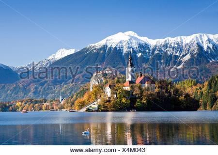 Slovenia, Europe, Bled, lake, autumn, church, mountains - Stock Photo