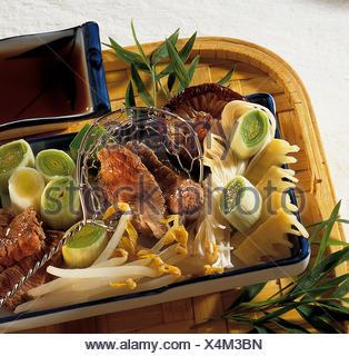 Japanese hot pot 'Shabu', Japan, recipe available for a fee - Stock Photo