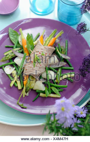Beef fillet and vegetable Pot-au-feu - Stock Photo