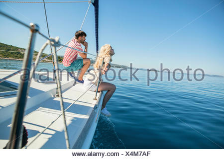 Young couple together on sailboat, Adriatic Sea - Stock Photo