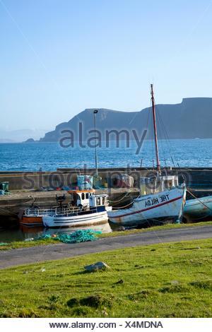 Purteen Harbour, Achill Island, Co Mayo, Ireland; Fishing Boats - Stock Photo