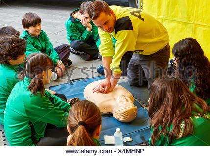 First aid course at school. Donostia (San Sebastian). Gipuzkoa. Basque Country. Spain. - Stock Photo