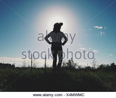Cowgirl silhouette - Stock Photo