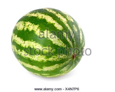 spotless whole watermelon on white - Stock Photo