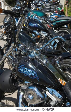 Harley Davidson motorbikes parked in a row at Harley Days 2006, Hamburg, Germany - Stock Photo