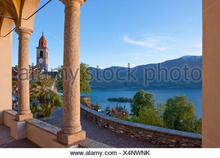 Brissago, islands, isles, canton, TI, Ticino, South Switzerland, lake, lakes, island, isle, Switzerland, Europe, columns, Ronco, - Stock Photo