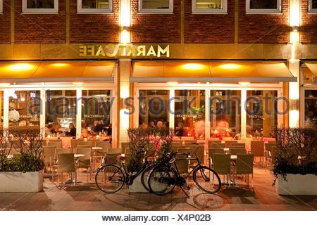Marktcafe in Muenster, Germany, North Rhine-Westphalia, Muensterland, Munster - Stock Photo
