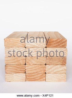 Washington State USA Stack sawn prepared timber spruce wood planks stud - Stock Photo