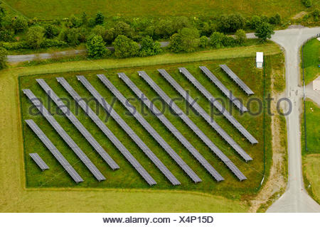 Aerial view, solar panels on a field, Winterberg, Sauerland region, North Rhine-Westphalia - Stock Photo