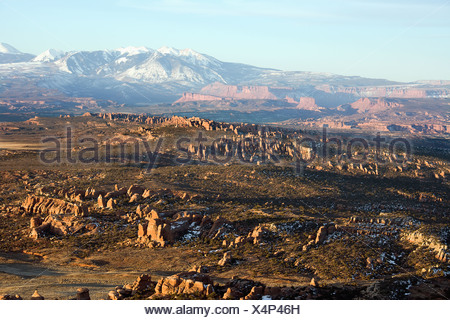 Aerial landscape of wide canyon in Arches National Park Utah United States - Stock Photo