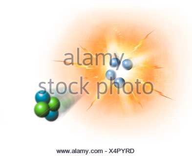 Artwork of nuclear fusion reaction - Stock Photo
