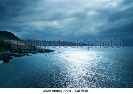 moonlight seascape - Stock Photo