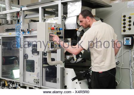 manufacturing VIM digital printing plates for Offset Printing Press. - Stock Photo