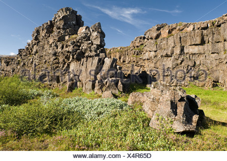 Rift valley, Thingvellir, Þingvellir National Park, Iceland, Europe - Stock Photo