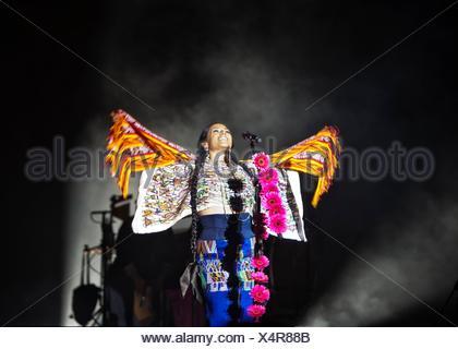 Lila Downs in concert, Antigua, Guatemala - Stock Photo