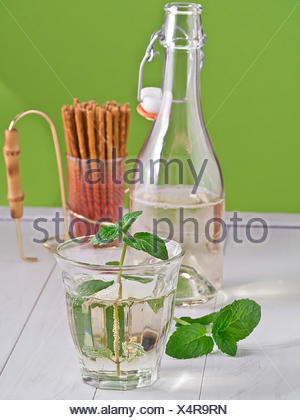 Hugo, cocktail of champagne and elderberry syrup w - Stock Photo
