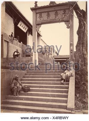 Beggars at the Gate of a Temple, Canton. Artist: Attributed to John Thomson (British, Edinburgh, Scotland 1837-1921 London); Date: ca. 1869; Medium: - Stock Photo