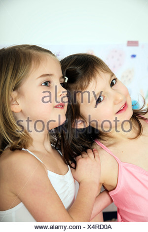 Portrait of two girls as ballerinas - Stock Photo
