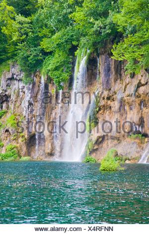 Waterfalls, Plitvicka Jezera, Plitvice Lakes National Park, Lika-Senj, Croatia, Europe - Stock Photo