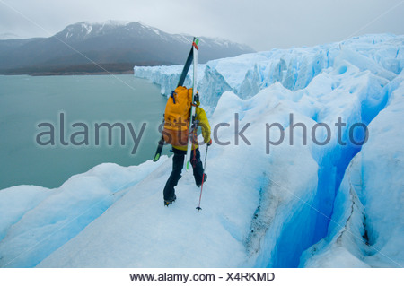 A daring skier walks across the toe of the Perito Moreno Glacier in Parque Nacional Los Glacieres, southern Patagonia, Argentina - Stock Photo