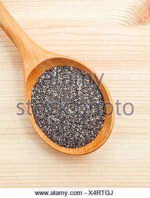 Nutritious chia seeds in wooden spoon for diet food ingredients - Stock Photo