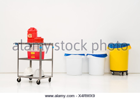 Chemical waste and bins - Stock Photo