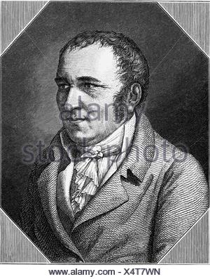Hebel, Johann Peter, 10.5.1760 - 22.9.1826, German poet, portrait, wood engraving, Additional-Rights-Clearances-NA - Stock Photo