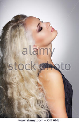 Dreaminess. Gentle Woman Blonde with Closed Eyes in Reverie - Stock Photo
