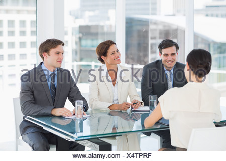 Recruiters checking the candidate during job interview - Stock Photo