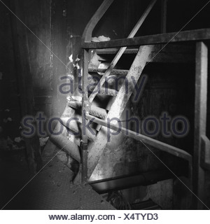 Mine steel-stairway old collects dust s/w Germany North Rhine-Westphalia meal 'customs-club' UNESCO-Weltkulturerbe sight - Stock Photo