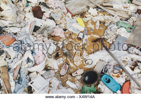 heap of garbage discarded Wooden plants plastic - Stock Photo
