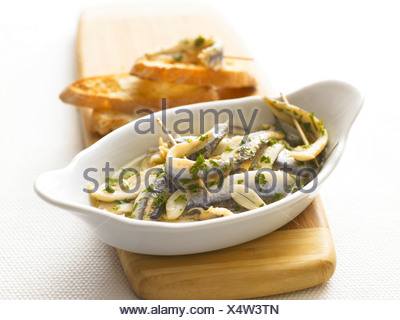 boquerones or fresh anchovies tapas - Stock Photo