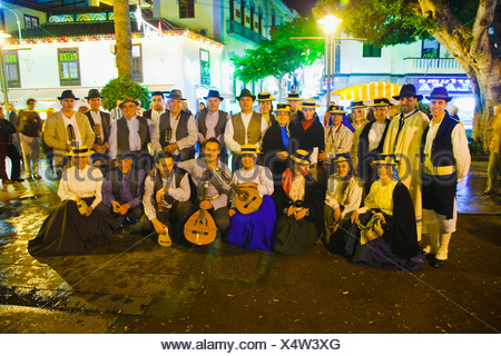 Folk Group singing Christmas and traditionals songs  Puerto de la Cruz  Tenerife  Canary Islands  Spain. - Stock Photo
