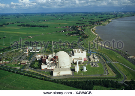 aerial photo nuclear power plant Brokdorf in the state of Schleswig-Holstein, Germany - Stock Photo