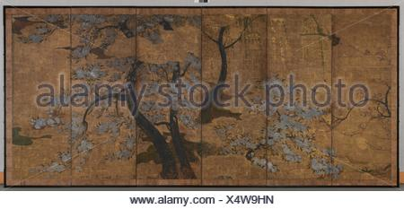 桜梅柳図å±é¢¨/Cherry, Plum and Willow Trees. Artist: Unidentified Artist Japanese, 17th century; Period: Edo period (1615-1868); Date: early - Stock Photo