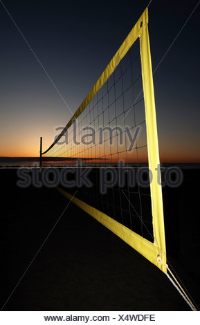 Volleyball net on the beach, Ahrenshoop, Baltic Sea, Mecklenburg-Western Pomerania, Germany, Europe - Stock Photo