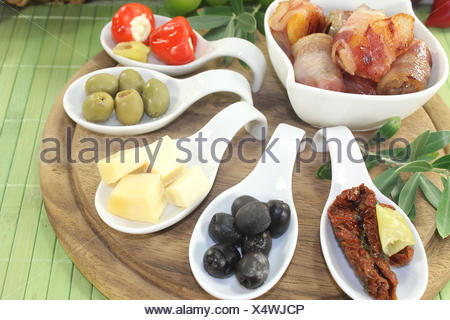 Tapas stuffed with prunes, figs and apricots - Stock Photo