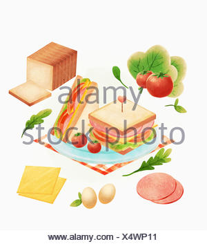 Recipe for sandwiches - Stock Photo