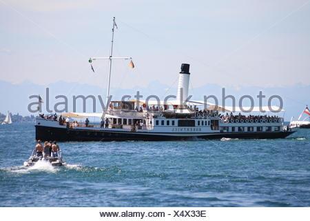 big passenger ship on lake of constance - Stock Photo