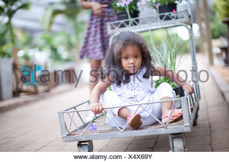 Girl sitting in cart at plant nursery - Stock Photo